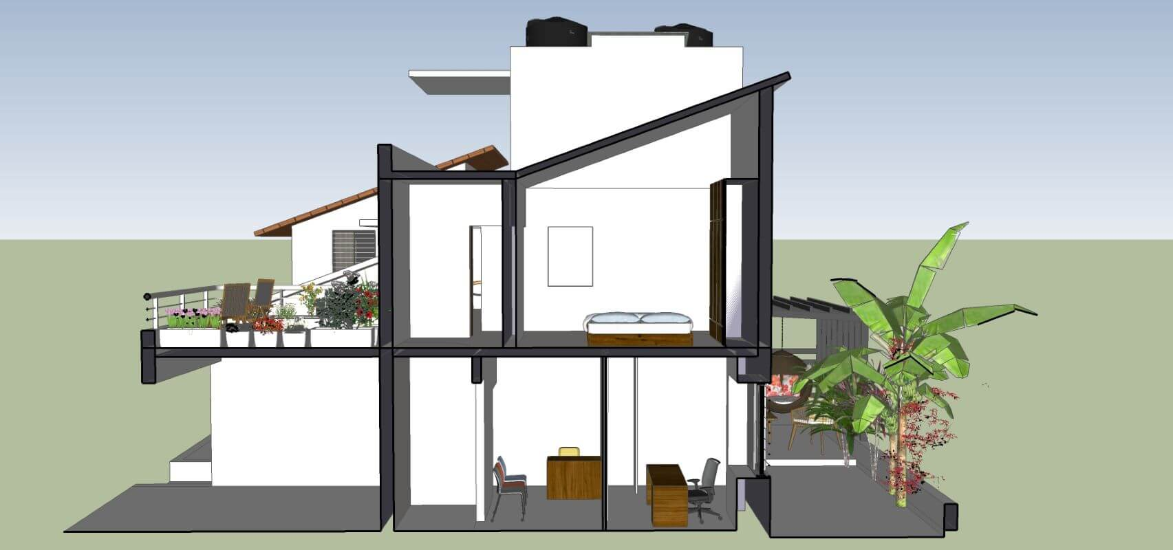 6. SECTION THOUGH CLINIC (G.F.) & TERRACE + GUEST BEDROOM 2 (F.F.)