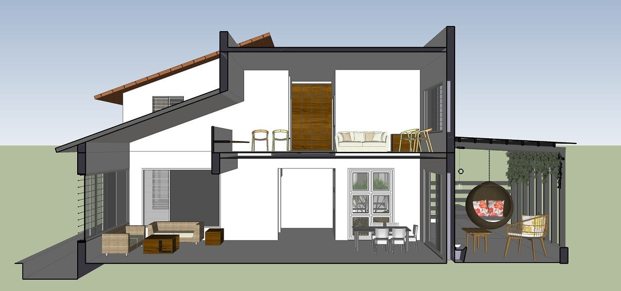SECTION THROUGH LIVING AND DINING